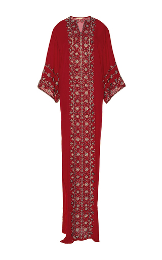 Medium oscar de la renta red oscar de la renta red three quarter sleeve caftan  2