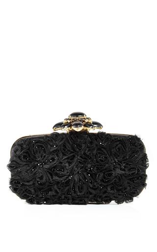 Black Satin Embellished Goa Evening Clutch by OSCAR DE LA RENTA Now Available on Moda Operandi