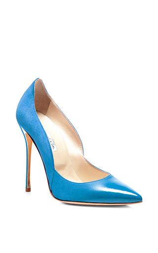 Blue Sabrina Suede And Patent Pumps by OSCAR DE LA RENTA Now Available on Moda Operandi
