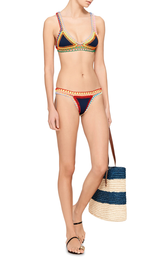 Tasmin Neon Threaded Navy Bikini Bottom by KIINI Now Available on Moda Operandi