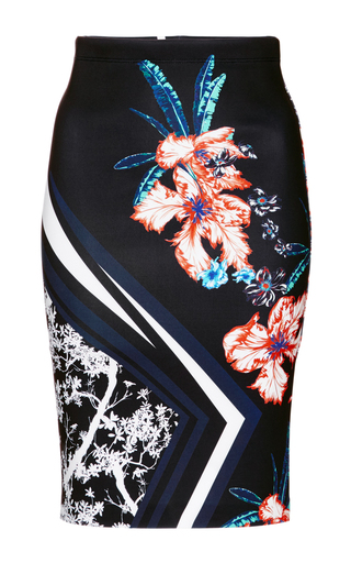 Medium clover canyon black modern romance fitted midi skirt