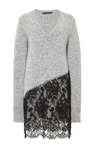 Medium thakoon nude wool cashmere v neck dress with lace skirt
