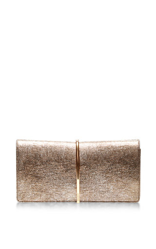 Medium nina ricci bronze metallic lambskin clutch with gold clasp