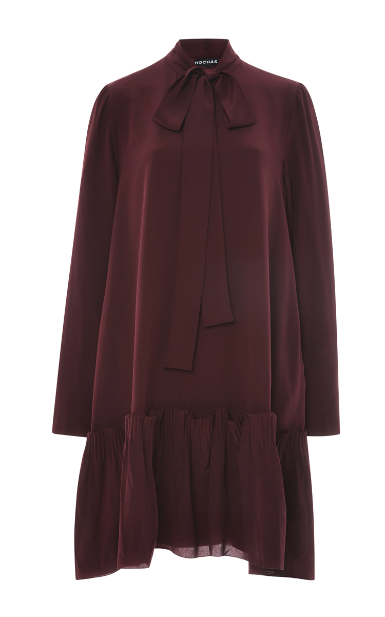 5bb817a5defd7b Burgundy Silk Crepe Bow Neck Dress by Rochas