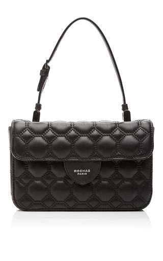 Medium rochas black black quilted lambskin leather envelope purse