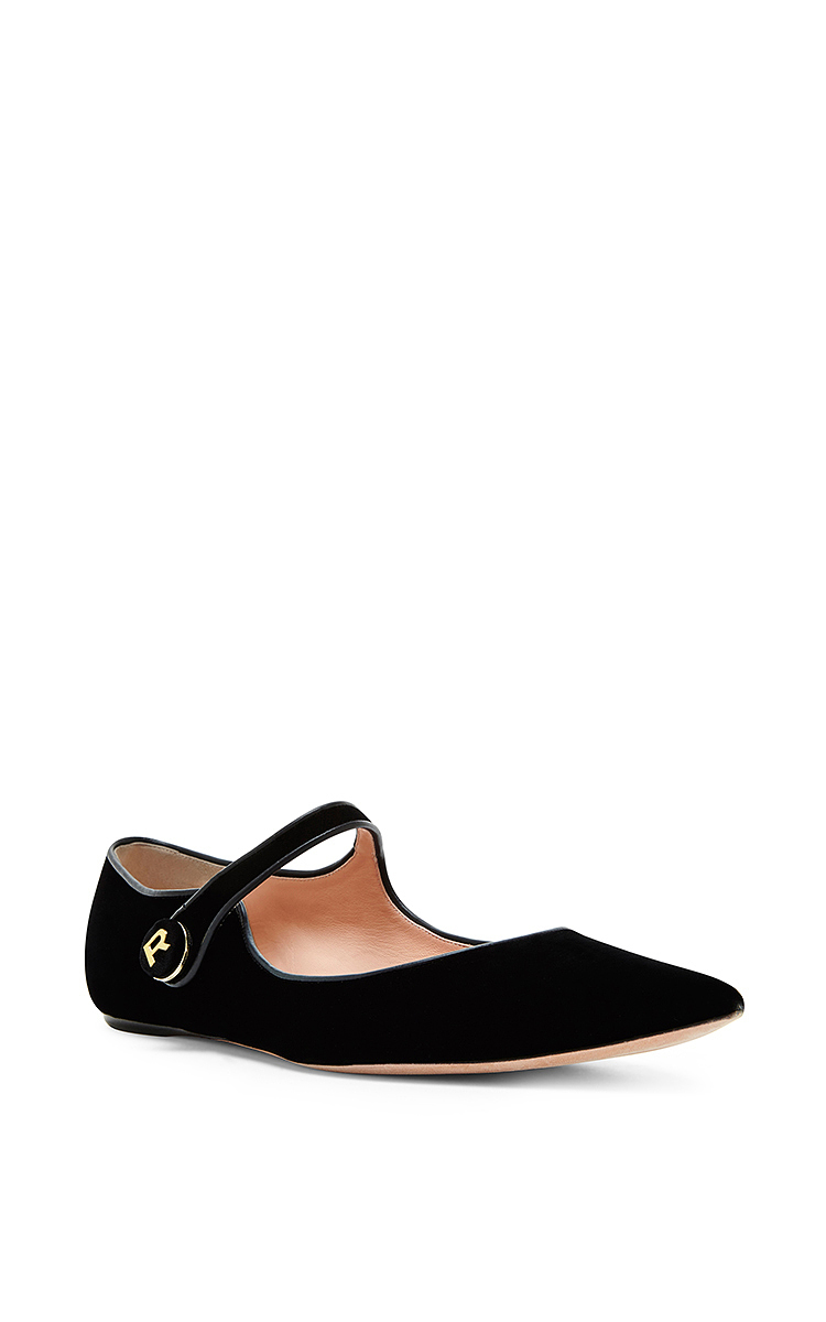 RochasBlack Leather Velvet Mary Jane Flats. CLOSE. Loading