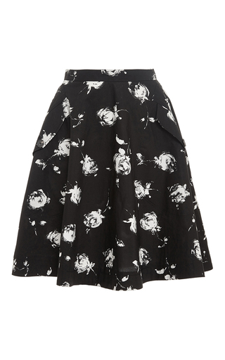 White Black Mid Length Floral Skirt  by NINA RICCI Now Available on Moda Operandi