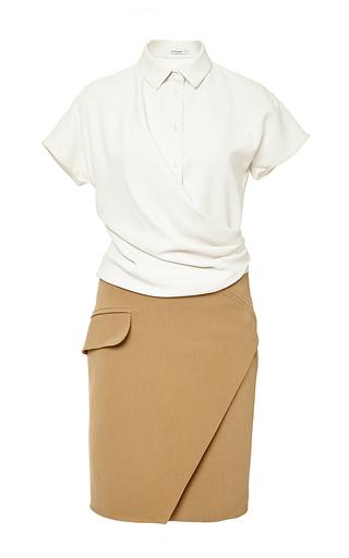 Medium carven tan camel short sleeved bicolored dress