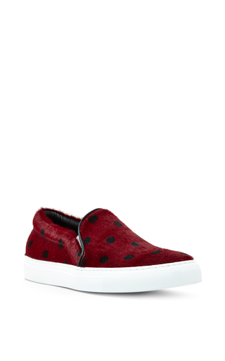 Bordeaux Spotted Pony Hair Sneakers by JOSHUA SANDERS Now Available on Moda Operandi