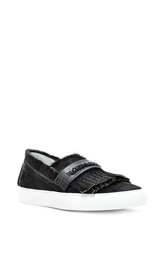 Medium joshua sanders black black pony leather loafer sneakers