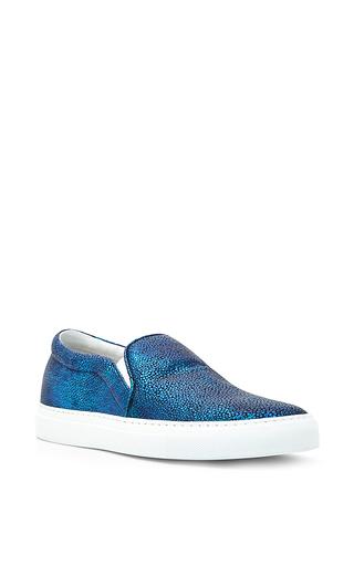 Medium joshua sanders blue metallic calf leather manta sneakers