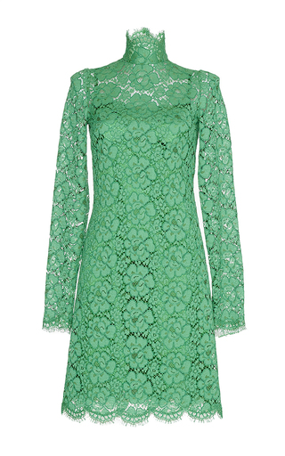Jade Green Lace Turtleneck Dress by DOLCE & GABBANA Now Available on Moda Operandi