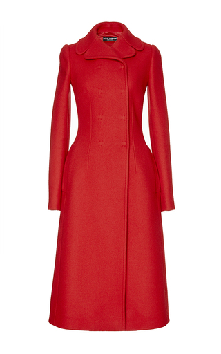 Red Cashmere And Wool Long Sleeved Coat by DOLCE & GABBANA Now Available on Moda Operandi