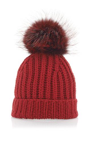 Medium dolce gabbana red red cashmere and fox fur beanie