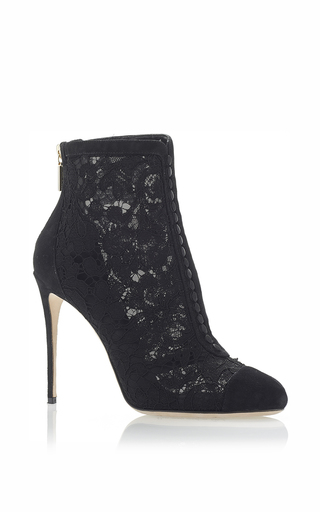Medium dolce gabbana black lace ankle boots with covered buttons