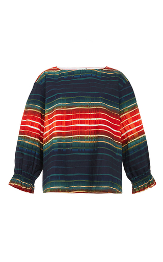 Cotton Multicolored Cuff Sleeved Top by SUNO Now Available on Moda Operandi