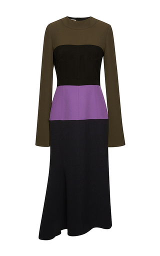Medium marni dark grey color block crepe cady midi dress  2