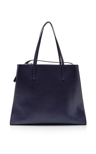 Medium marni navy leather shopping bag