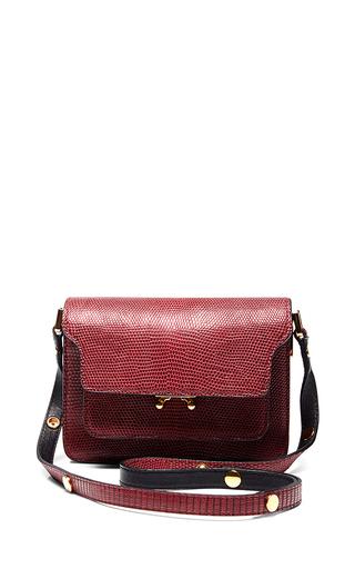Medium marni burgundy burgundy lizard etched shoulder bag
