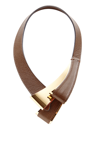 Medium marni brown tan leather and brass necklace