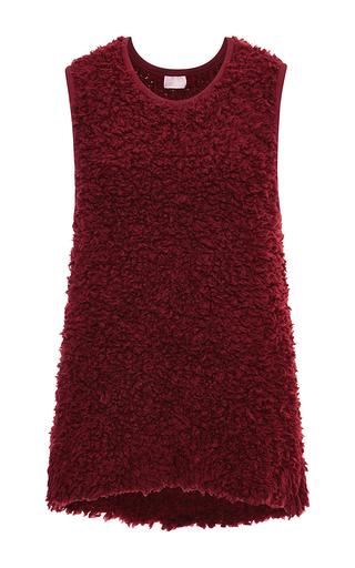Burgundy Sleeveless Fur Tank by GIAMBA Now Available on Moda Operandi
