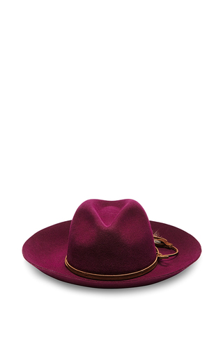 Medium sensi studio purple purple wool long brimmed hat with feather