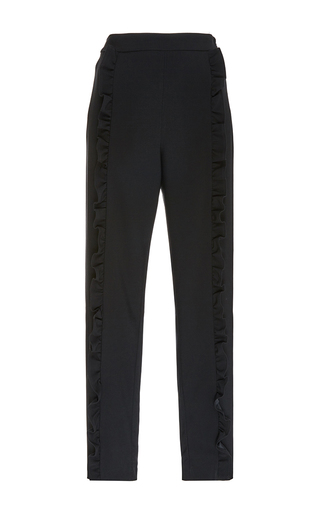Black Ruffle Front Trousers by MSGM Now Available on Moda Operandi