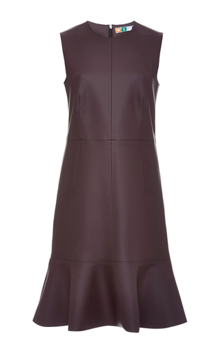 Medium msgm burgundy red faux leather sleeveless dress