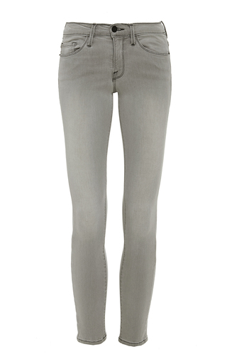 Medium frame denim light grey light gray le skinny de jeanne crop