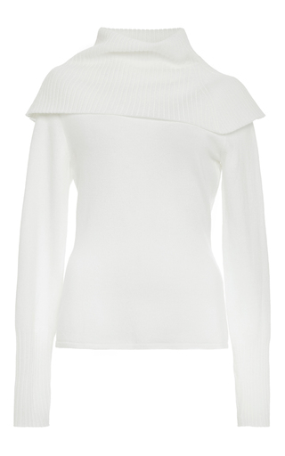 Merino Wool Off White Exaggerated Roll Neck Top by J.W. ANDERSON Now Available on Moda Operandi