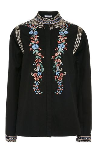 Medium vilshenko black black cashmere wool embroidered erin blouse