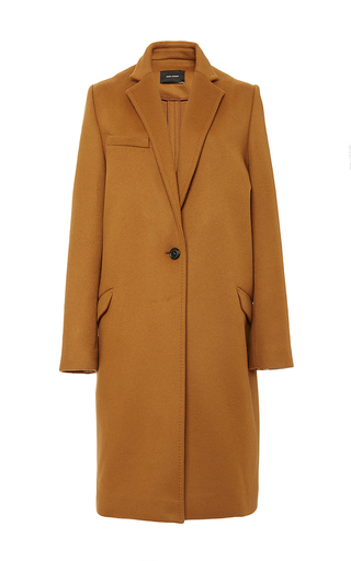 Medium isabel marant tan virgin wool and cashmere carlan coat