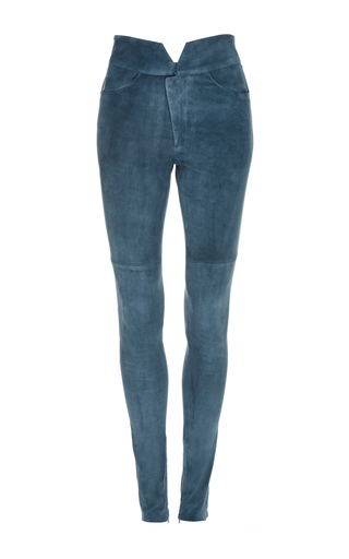 Medium isabel marant blue blue suede eydie skinny pants