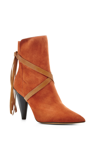 Medium isabel marant orange nerys suede cross tie ankle boots