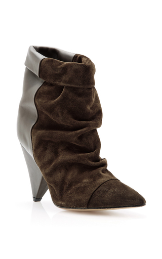 Medium isabel marant tan calf leather and suede slouch ankle boots