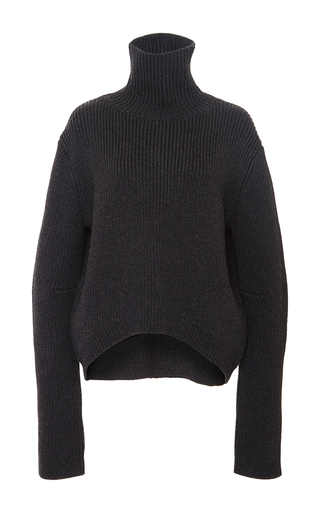 Medium ellery dark grey charcoal mia high collar cropped jumper