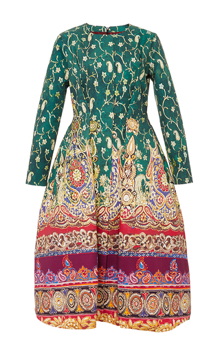Medium stella jean green cotton printed long sleeved elgin dress