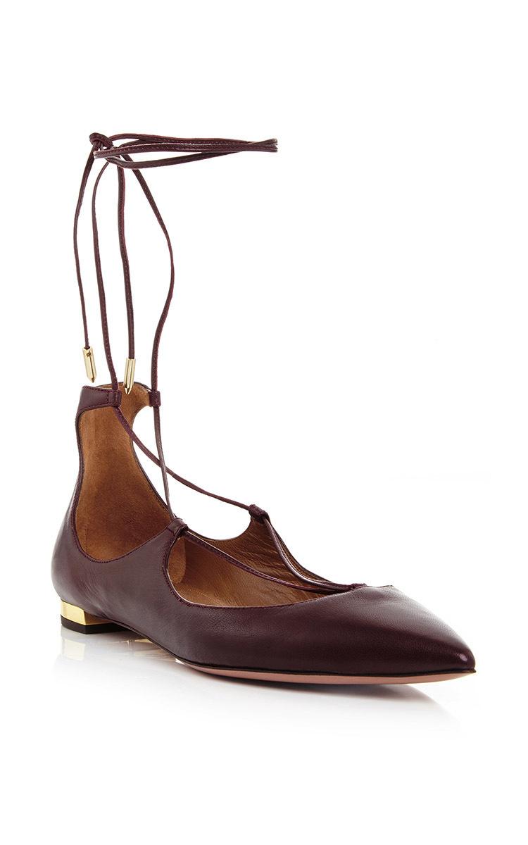 ae3aff6bc Burgundy Nappa Leather Christy Lace Up Flats by Aquazzura | Moda ...