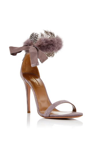 Iris High Heeled Sandals With Mink Accent by AQUAZZURA Now Available on Moda Operandi
