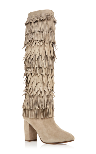 Woodstock Suede Fringed Chunky Boots by AQUAZZURA Now Available on Moda Operandi