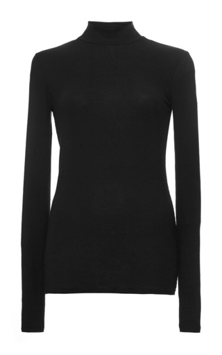 Medium atm black black micro modal mock neck top
