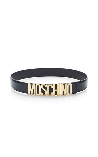 Medium moschino black black calf leather classic logo belt