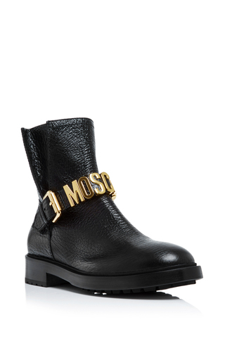 Medium moschino black black leather logo biker boot