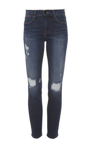Medium frame denim dark wash le high skinny jeans