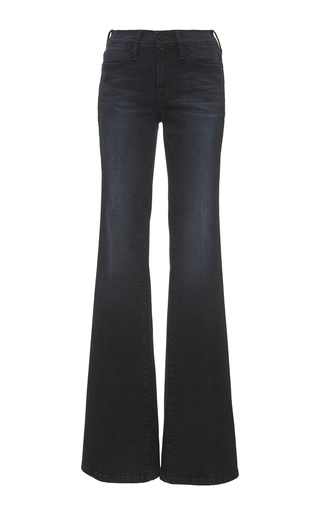 Medium frame denim dark wash le high flare jeans