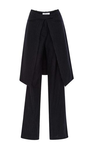 Medium derek lam 10 crosby blue midnight blue pinstriped wool wrap skirt trousers
