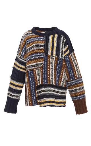 Medium joseph multi patterned oversized long sleeve sweater