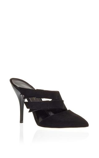 Black Leather Fibi Strappy Mules by OSCAR DE LA RENTA Now Available on Moda Operandi
