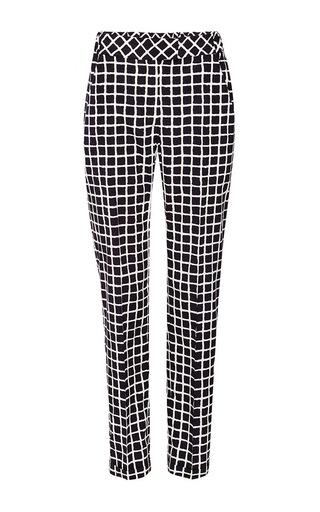 Medium oscar de la renta black stretch silk slim checked pants