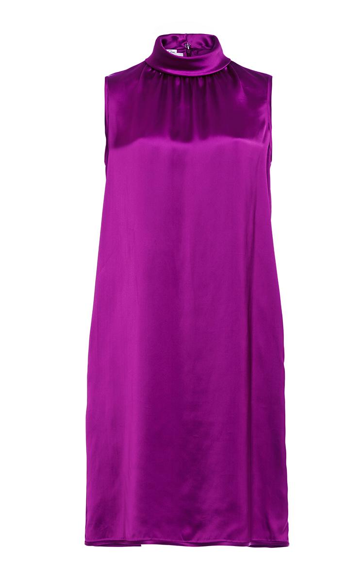 Purple Sleeveless Roll Collar Shift Dress by Oscar de la Renta ...